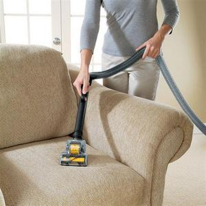 a woman removing dog hair from a couch
