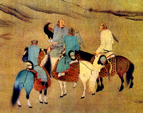 an old portrait of ancient travelling Chinese nomads. do the Chinese eat dog meat?