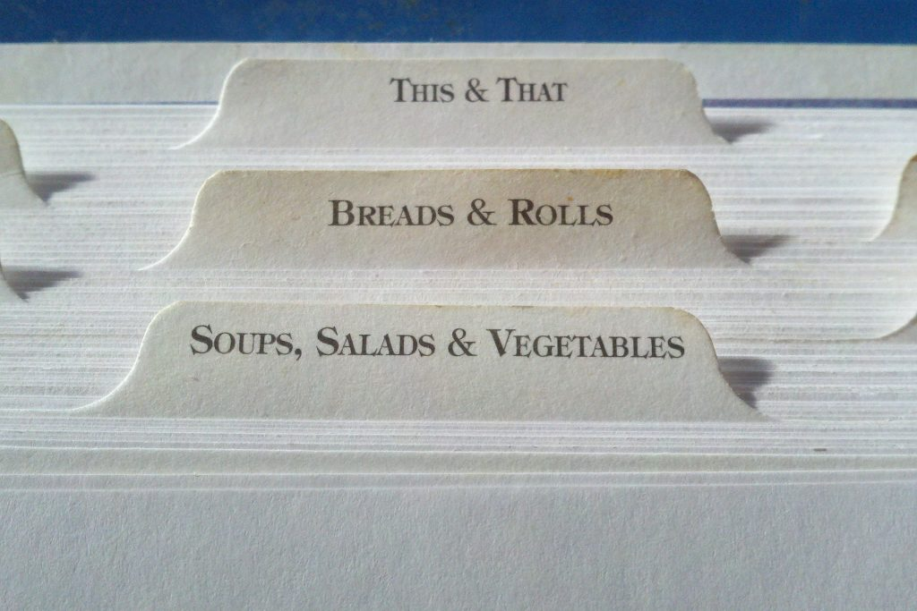 labels of a recipe book