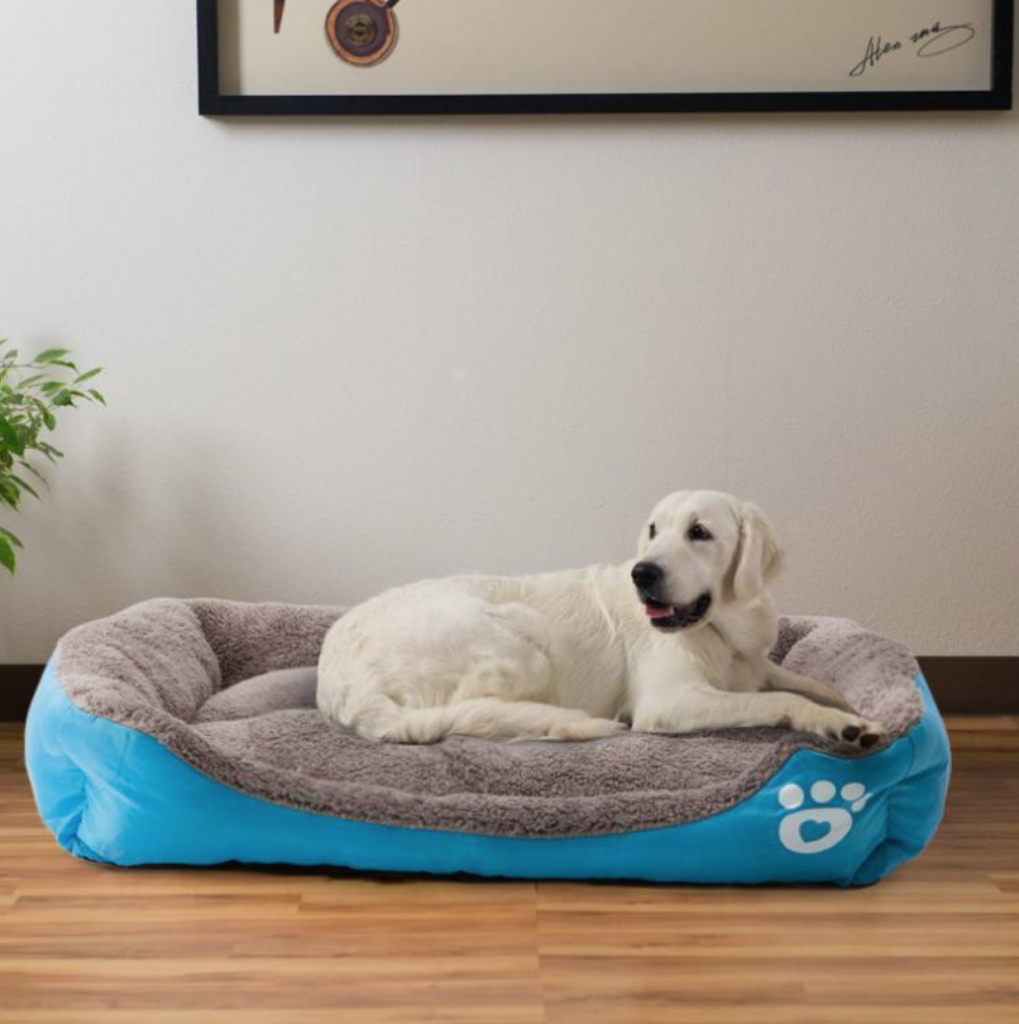 A dog sleeping on the pet warming bed