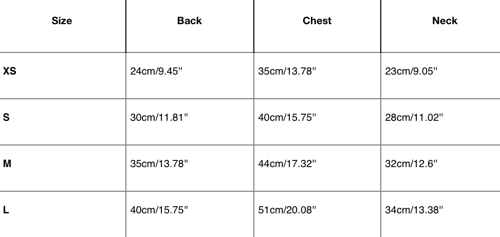 Dog sweater measurements table