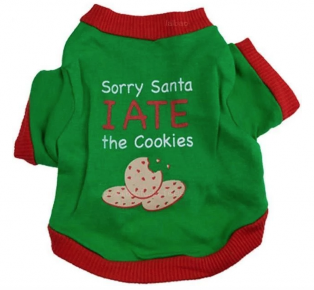 Ugly Christmas Sweaters for Dogs- The Sorry Santa I Ate The Cookies Puppy Sweatshirt