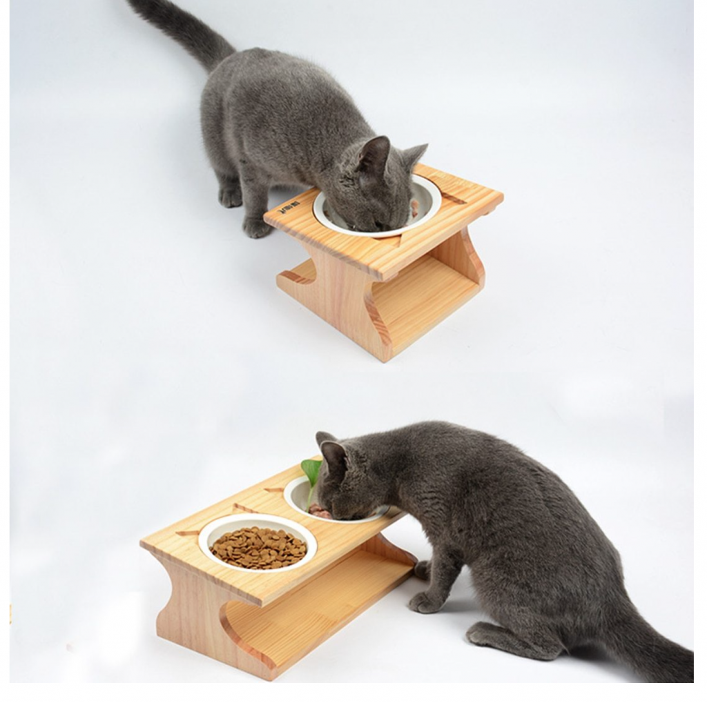 substantial wooden bowl container for pets