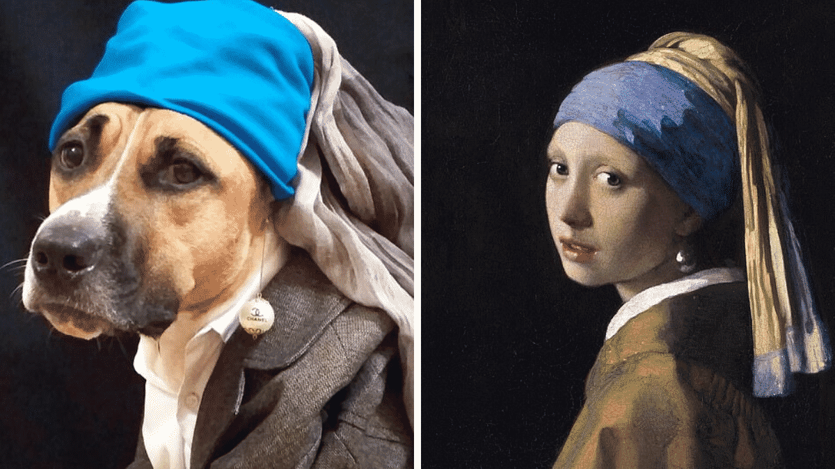 Dog Owner Recreates Amazing Artworks With Her Dog, and They're Stunning |