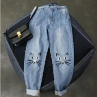 PLUS SIZE | Cat Face Embroidered Jeans | Look Perfectly On-Trend | Free Shipping - GlamorousDogs
