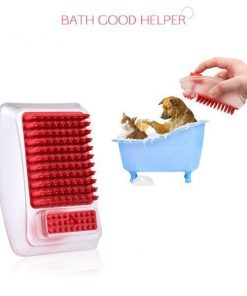 2-in-1 Dog Bathing Massage Brush & Shampoo Dispenser for Dogs and Cats grooming Stunning Pets