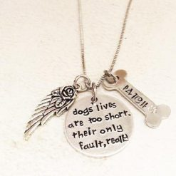 4EVERTOGETHER™: Beautiful Memorial Hand-Stamped Pet Necklace Pets Lavender Poppy