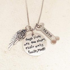 4EVERTOGETHER™: Beautiful Memorial Hand-Stamped Pet Necklace Pets Lavender Poppy 1 custom bone