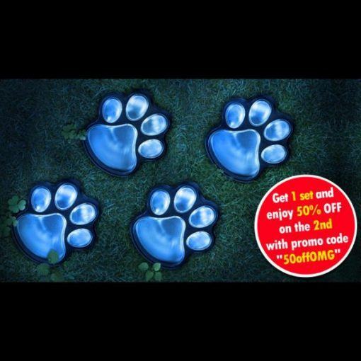 4 Solar Paw-printed Garden Pads | Have a Magical Pathway Light Light GlamorousDogs
