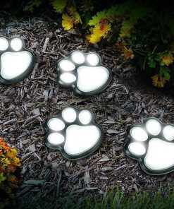 4 Solar Paw-printed Garden Pads | Have a Magical Pathway Light Light GlamorousDogs White