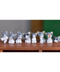 8pc Cats Miniature Decoration Stunning Pets Light Grey
