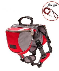 Adjustable Saddle Bag for Dogs GlamorousDogs S Red*Grey
