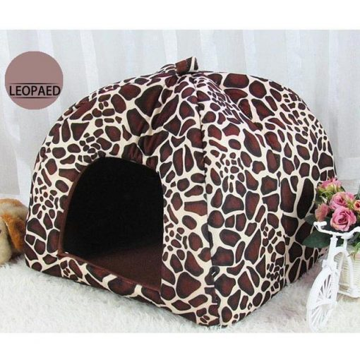 Adorable Dog Igloo Tent for Winter Stunning Pets Leopard 26x26x28cm