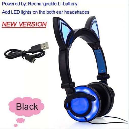 Cat Ear Headphone with Glowing LED Light Stunning Pets New Black United States