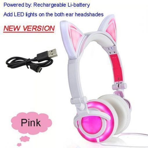 Cat Ear Headphone with Glowing LED Light Stunning Pets New Pink United States