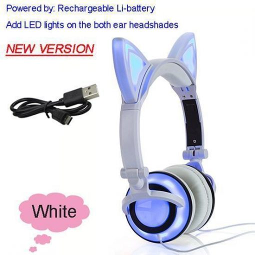 Cat Ear Headphone with Glowing LED Light Stunning Pets New White United States