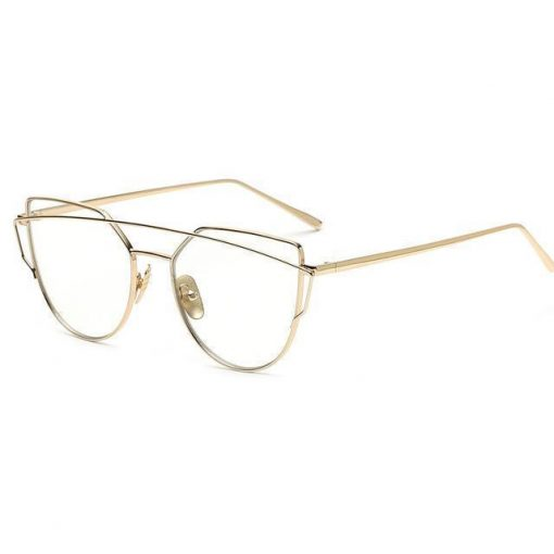 Cat Eye Elegant Sunglasses Stunning Pets gold with clear lens