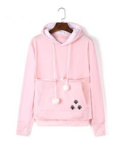 Cat Pouch Hoodie| Cat Pouch Sweater Outfit Stunning Pets M Light pink