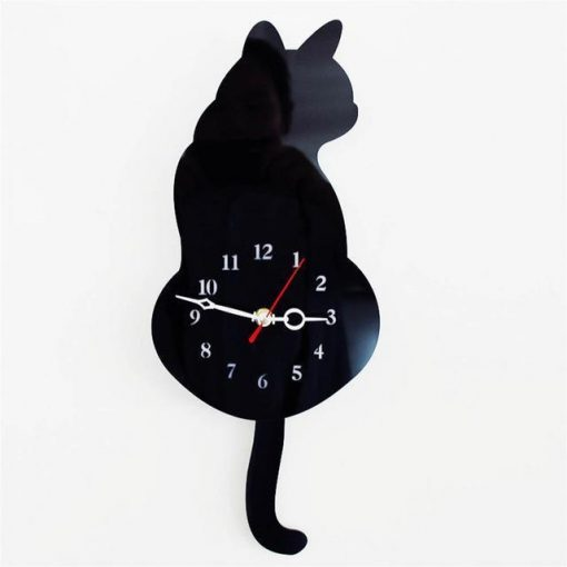 Cat-Tail Wagging Wall Clock Stunning Pets Black