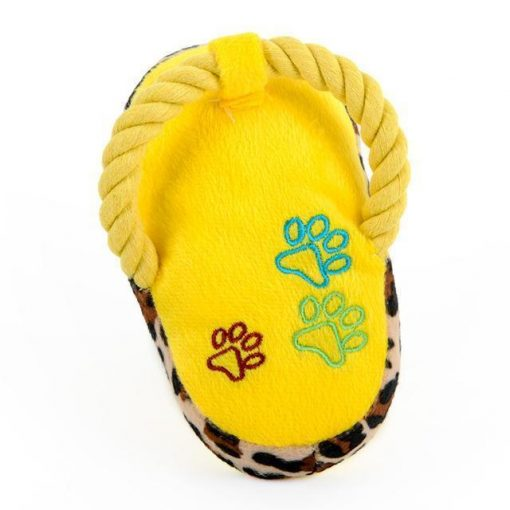 Chewable Squeaky Slipper-shaped Toy Stunning Pets Yellow M