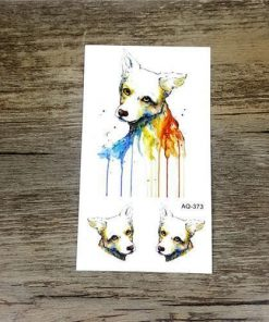 Colorful Flower Animals Dogs tattoos Stunning Pets AQ373