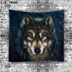 Cool Wolf 3D Tapestry Home accessories Stunning Pets