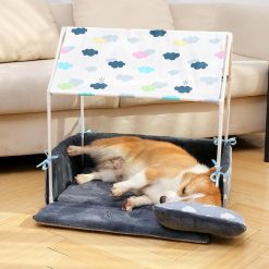 Cozy Washable Home Shaped Bed for Puppies, Cats & Small Dogs Small Dog Bed GlamorousDogs Blue Length: 24.8'' (63cm) Width: 16.9'' (43cm) Height: 24.8'' (63CM)