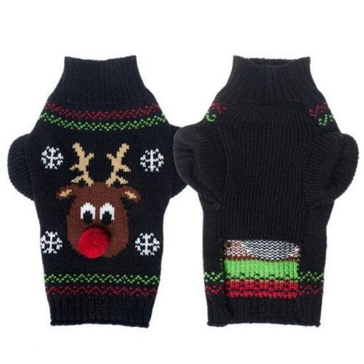 Cute Santa Claus Christmas Dog Sweater Stunning Pets black XS