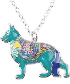 "Dog Choker Necklace Collar pendant German Shepherd Necklace GlamorousDogs 1.57"" x 1.73"" Blue"