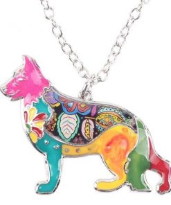 "Dog Choker Necklace Collar pendant German Shepherd Necklace GlamorousDogs 1.57"" x 1.73"" Multicolor"