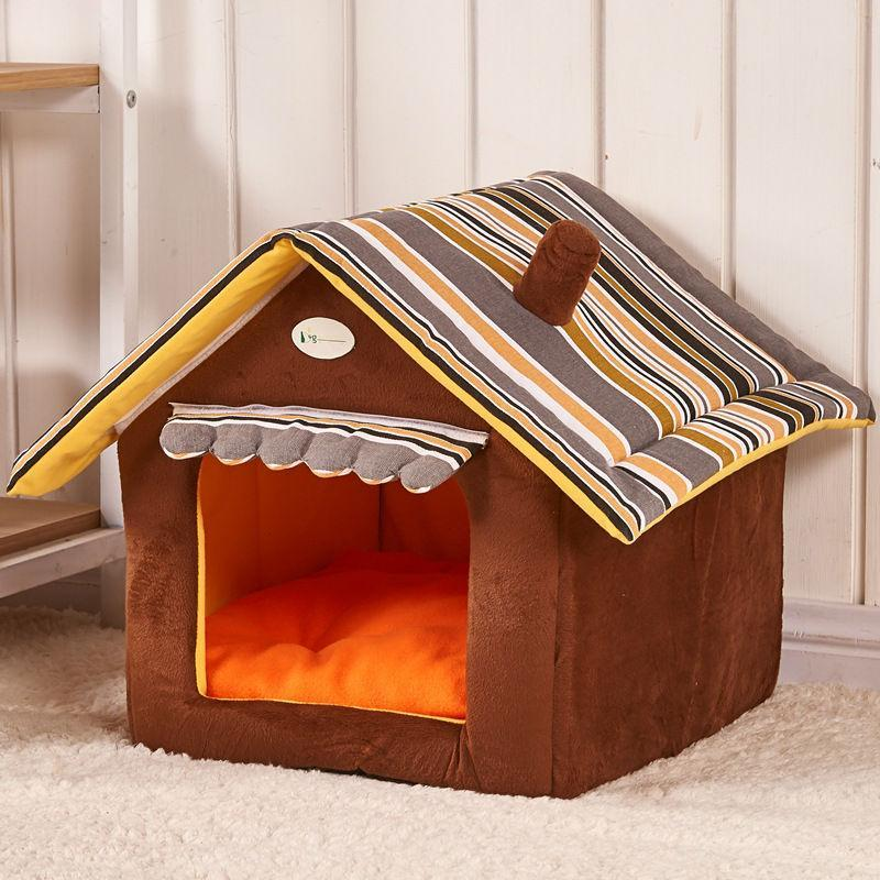 DOGMANSION: Indoor Dog House With Removable Cover Dogs Bed GlamorousDogs Brown S(13.7'in*11.8in*13.7in)