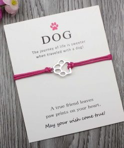 Elegant Silver Dog Paw Print Bracelet with a Wish Card Wish Card GlamorousDogs