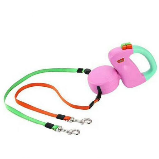 Enjoy Walks with the Non-Tangling Retractable Leash For 2 Dogs Stunning Pets Pink