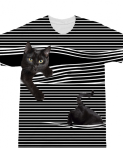 Funny Casual Striped Black Cat Tee for Women July Test GlamorousDogs S Black With White Stripes