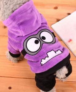 Funny Dog Clothes Warm Fleece Costume For Small Dogs Stunning Pets Purple L