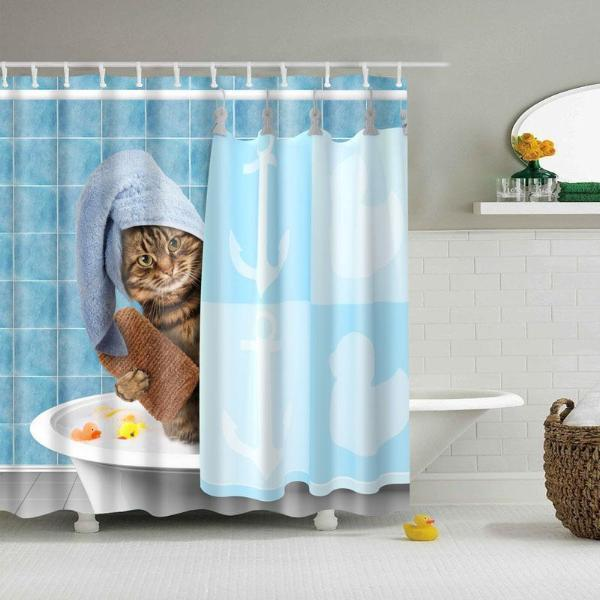 Funny Unique Cat Taking a Bath Shower Curtain Stunning Pets