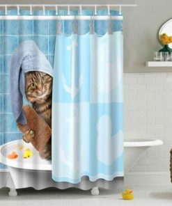 Funny Unique Cat Taking a Bath Shower Curtain Stunning Pets 48x72inch