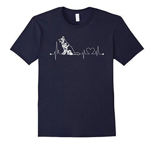German Shepherd Heartbeat T-Shirt Stunning Pets Navy Blue S