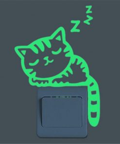 Glow in the Dark Stickers Sleepy Cat Switch Sticker Stunning Pets