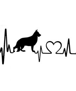 Heartbeat German Shepherd Dog Car Sticker Glamorous Dogs Black
