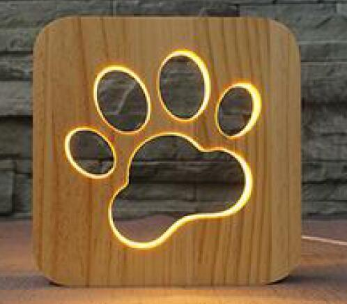LED Night Light Wooden Lamp |Gift Idea for Pet Lovers July Test GlamorousDogs Dog Paw Lamp