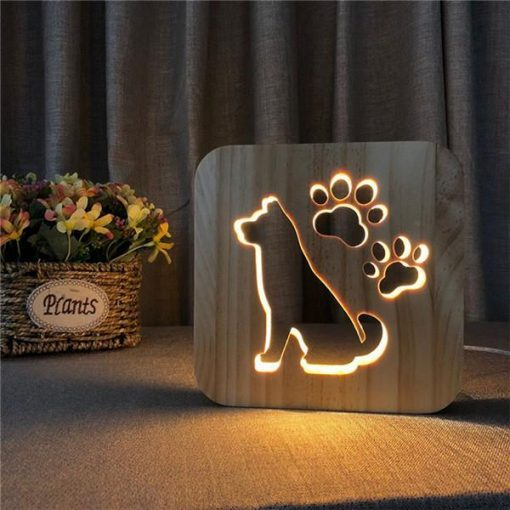 LED Night Light Wooden Lamp |Gift Idea for Pet Lovers July Test GlamorousDogs German Shepherd Lamp