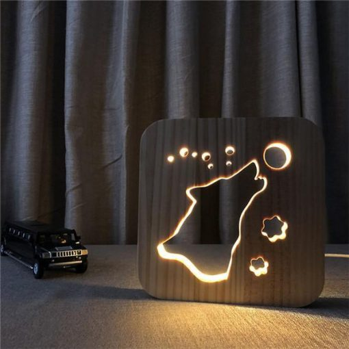 LED Night Light Wooden Lamp |Gift Idea for Pet Lovers July Test GlamorousDogs Howling Dog Lamp