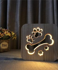 LED Night Light Wooden Lamp |Gift Idea for Pet Lovers July Test GlamorousDogs Paw Bone Lamp