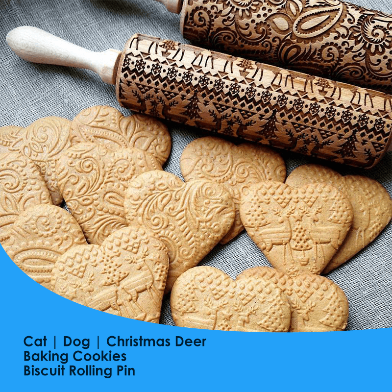 MAMA'SBAKING™: Embossed Rolling Pin Bakery, Make Your Baking Look As Delicious As it Tastes Cat Dog Christmas GlamorousDogs