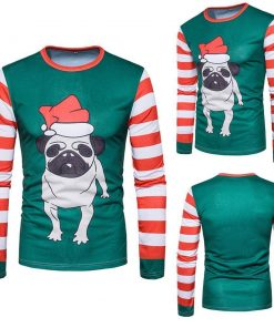 Men Autumn Winter Xmas Christmas PrintingTop Men's Long-sleeved T-shirt Blouse Stunning Pets Multicolor L