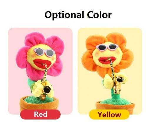 Musical Singing and Dancing Saxophone Sunflower Pet Toy GlamorousDogs Red