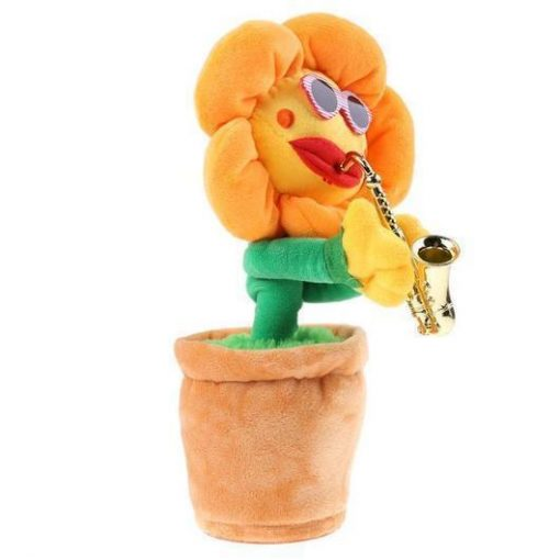 Musical Singing and Dancing Saxophone Sunflower Pet Toy GlamorousDogs Yellow