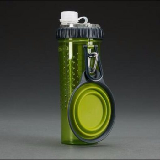 Outdoor Pal 2 in 1 Water/Food Bottle with Folded Bowl Stunning Pets Army Green Food- 230 g, Water- 350 ml