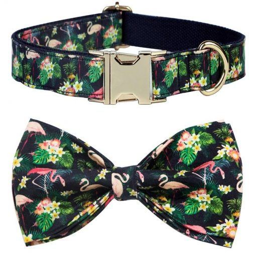 2020 Colorful and Stylish Summer Flamingo Dog collar with Bow Tie 5